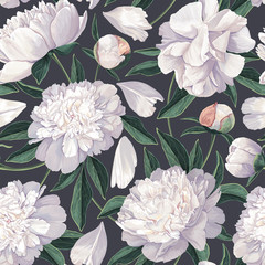 Panel Szklany Podświetlane Peonie Floral seamless pattern with white peonies. Spring flowers background for prints, fabric, invitation cards, wedding decoration, wallpapers, wrapping paper. Realistic style. Vector illustration.