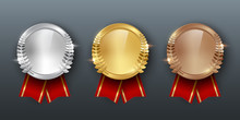 Award Golden, Silver And Bronze Medals With Ribbons 3d Realistic Vector Color Illustration On Gray Background