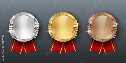 Fototapeta Award golden, silver and bronze medals with ribbons 3d realistic vector color il