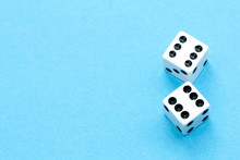 Gaming Dices On Blue Background.