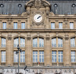 Gare Saint-Lazare facede in Paris. Gare St-Lazare is one of the six large train stations of Paris.