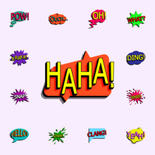 Comic Speech Bubble With Expression Text Haha Icon. Comic Icons Universal Set For Web And Mobile