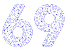 Mesh 69 Digits Text Polygonal Icon Illustration. Abstract Mesh Lines And Dots Form Triangular 69 Digits Text. Wire Frame 2D Polygonal Line Network In Vector Format Isolated On A White Background.