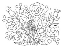 Hand-drawn Flower Patterns For Coloring Pages