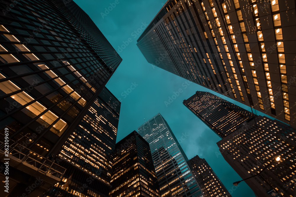 Fototapety, obrazy: night view of Toronto city skyscrapers; look up;