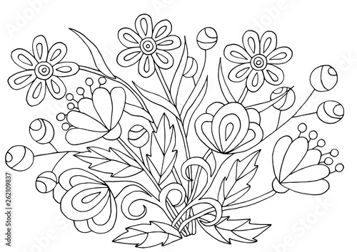 Poster Floral black and white Hand-drawn flower patterns for coloring pages