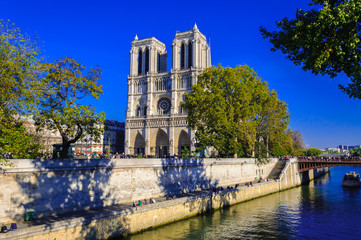 PARIS, FRANCE - APRIL 15, 2019: Notre Dame de Paris cathedral, France. Gothic architecture