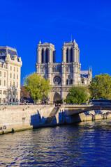 PARIS, FRANCE - APRIL 15, 2019: Notre Dame de Paris cathedral, France. Gothic architecture