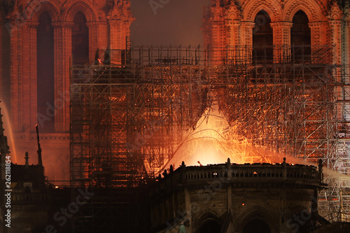 Fotografia  Burning roof of Notre Dame cathedral on April 15th, 2019 in Paris, Frrance
