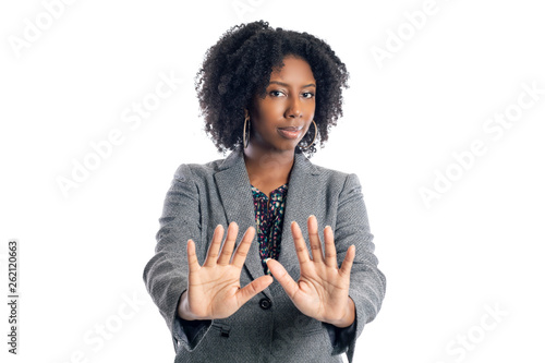 Fotografering  Black African American female businesswoman isolated on a white background doing