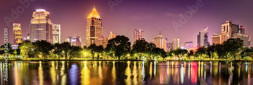 Poster Bangkok Panoramic view of Bangkok skyline. Night cityscape of Bangkok, Thailand. Panorama