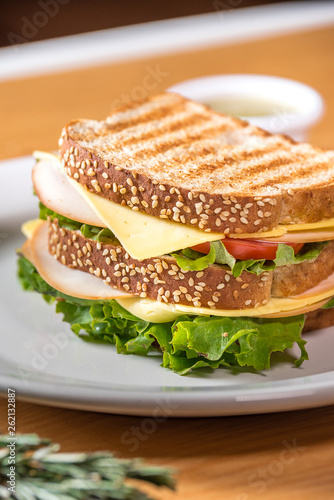 Staande foto Snack Jam Sandwich with lettuce and tomato