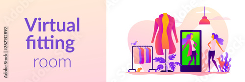 Virtual fitting room, online dressing, e-commerce clothing room concept Fotobehang