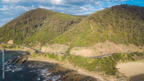 Spoed Foto op Canvas Grijze traf. Aerial Views of Beaches and Great Ocean Road Victoria, Australia