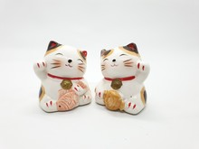 Porcelain Cat Statue Representing Luck Symbol And Sign For Traditional Chinese Culture Presented In White Isolated Background