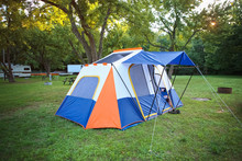 Blue And Orange Camping Tent O...