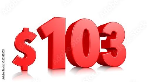 Tela  103$ One hundred three symbol