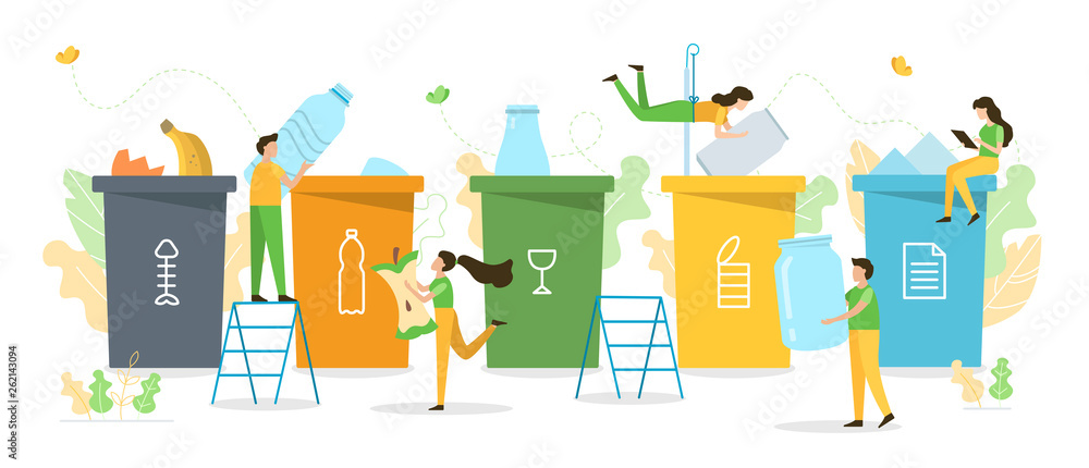 Fototapeta People sort garbage by type into containers for recycling. Ecology concept. Flat vector illustration.