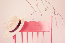 Vintage Pink Painted Chair Wit...