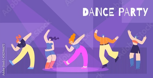 Motivation Dance Party Flat Card Banner Template