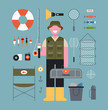 Fishing man and fishing Tackle. flat design style minimal vector illustration