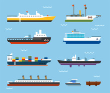 Various Kind Of Ships. Flat De...
