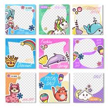 Set Kawaii Design Discount Sale Promo Coupon Card