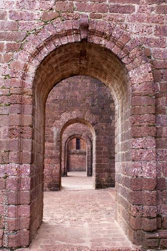 Staande foto Historisch geb. Red old brick tunnel door background