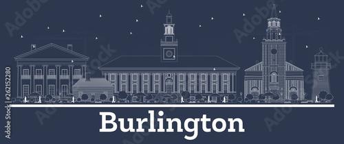 Fotografie, Obraz  Outline Burlington Vermont City Skyline with White Buildings.