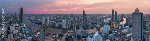 Foto auf AluDibond New York BANGKOK THAILAND - April 7 : aerial view of Taksin Bridge and Sathorn road in heart of Bangkok capital on April 7 , 2019 in Bangkok. Thailand