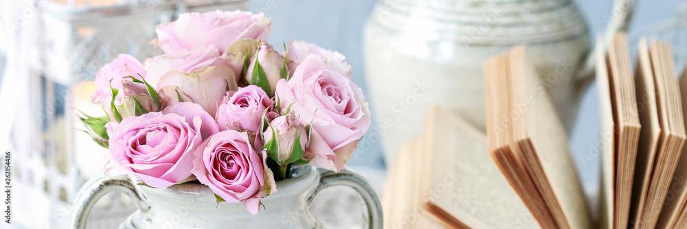 Fototapeta Bouquet of pink roses in ceramic vase.