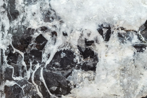 Fotografiet  Closeup surface marble pattern at black and white marble stone wall textured bac
