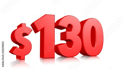 Fotografia  130$ One hundred thirty price symbol