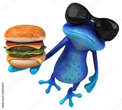 Wall Murals Equestrian Fun blue frog - 3D Illustration