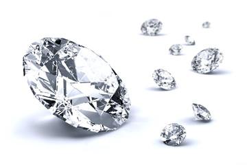 Diamenty na białym tle