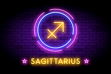 The Sagittarius Zodiac Symbol, Horoscope Sign In Trendy Neon Style On A Wall. Sagittarius Astrology Sign With Light Effects For Web Or Print.
