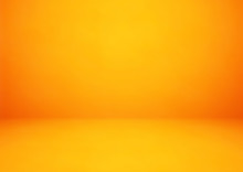 Empty Orange Studio Room Vector Background. Can Be Used For Display Or Montage Your Products
