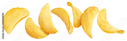 Vászonkép Flying potato chips, isolated on white background