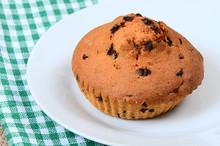Fresh Tasty Homemade Muffins On White Plate