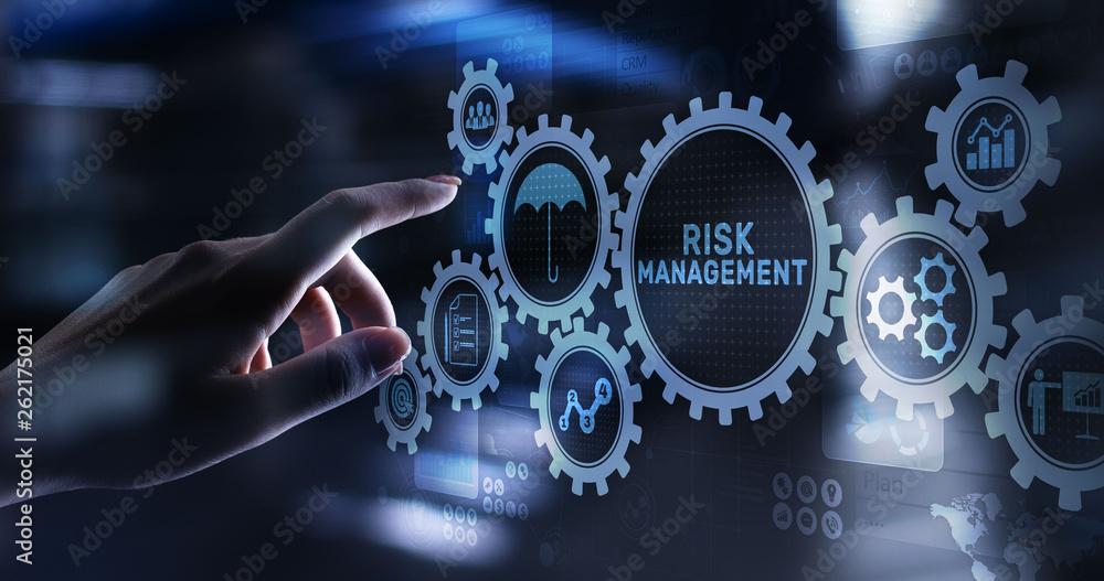 Fototapeta Risk management forecasting evaluation financial business concept on virtual screen.