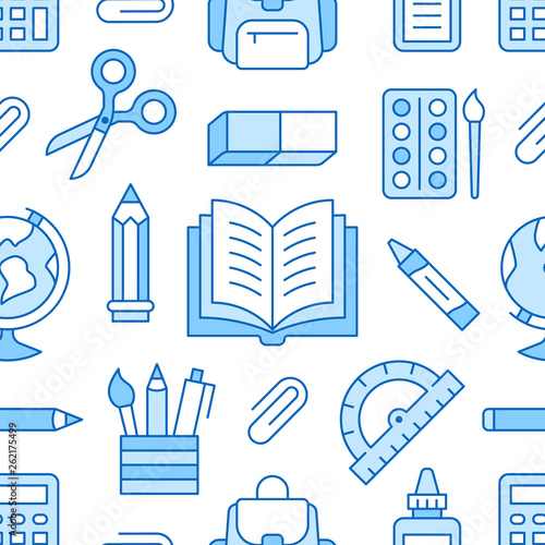 School Supplies Seamless Pattern With Line Icons Study