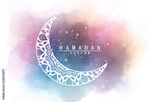 Stampa su Tela Abstract crescent moon graphic design and night sky watercolor digital art   pai