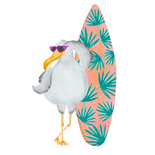 Watercolor Seagull With Surfboard. Hello Summer Card