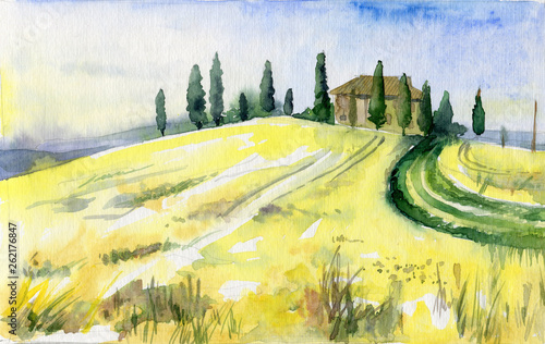 Tuinposter Zwavel geel Watercolor landscape of Toscana. Yellow field with trees and little house.
