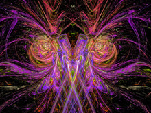 Alien. UFO. Creature From Another Dimension. Abstract Magic Energy Multicolored Fractal. 3D Rendering.