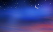 canvas print picture - halbmond sterne abendhimmel