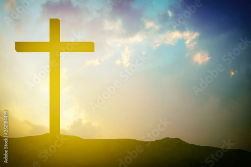 Abstract Wooden Crucifix of Jesus on The Mountain with Light Leak for catholic and Christian Religion Concepts.