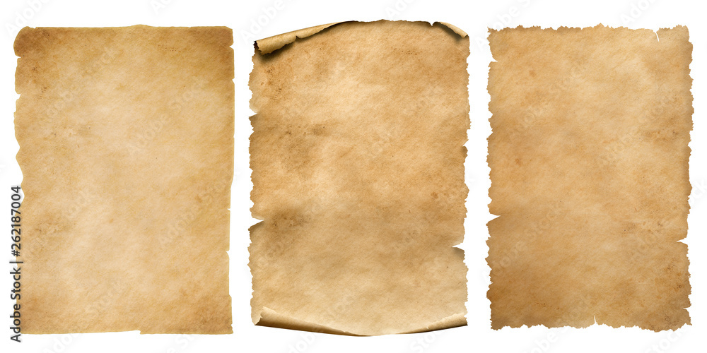 Fototapety, obrazy: Vintage paper or parchment sheets set isolated on white