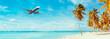 Leinwandbild Motiv Airplane landing at resort