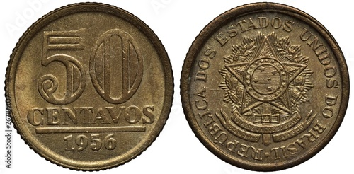 Valokuva  Brazil Brazilian coin 50 fifty centavos 1956, denomination and date, arms, sword